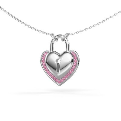 Collier Heartlock 925 argent saphir rose 1 mm