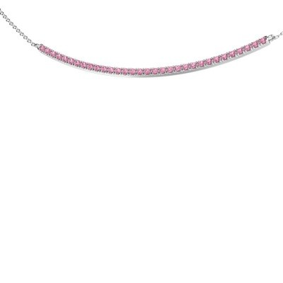 Collier barre Simona 585 or blanc saphir rose 1.5 mm