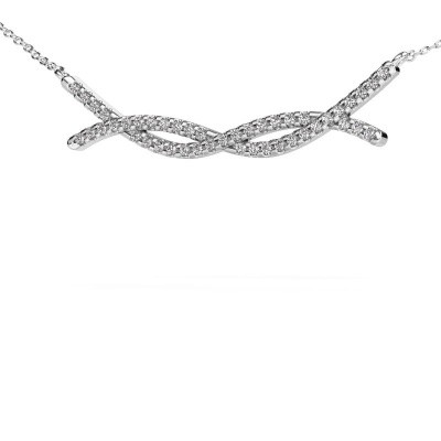Bar ketting Breanne 585 witgoud zirkonia 1.2 mm