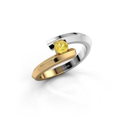 Ring Paulette 585 witgoud gele saffier 3.4 mm
