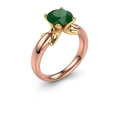 Ring Jodie 585 rosé goud smaragd 8 mm