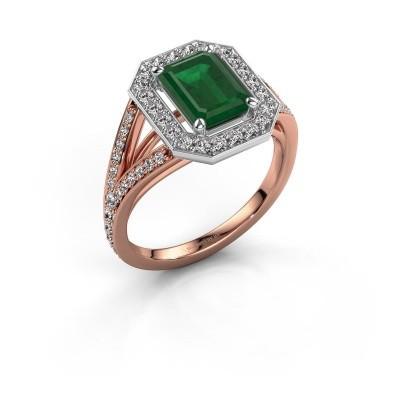 Promise ring Angelita EME 585 rosé goud smaragd 8x6 mm