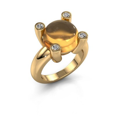 Photo de Bague Janice RND 585 or jaune citrine 12 mm