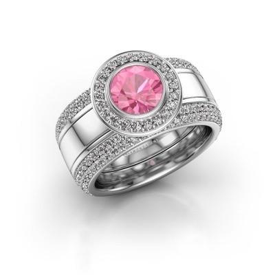 Foto van Ring Roxie 950 platina roze saffier 6.5 mm