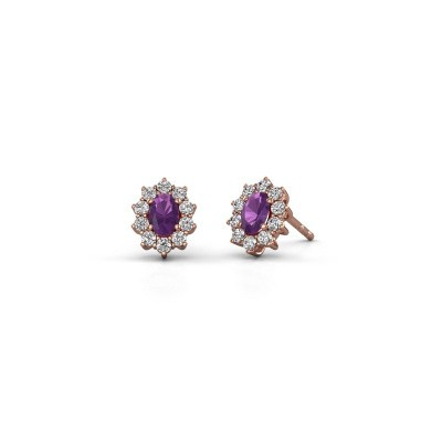 Picture of Earrings Leesa 375 rose gold amethyst 6x4 mm
