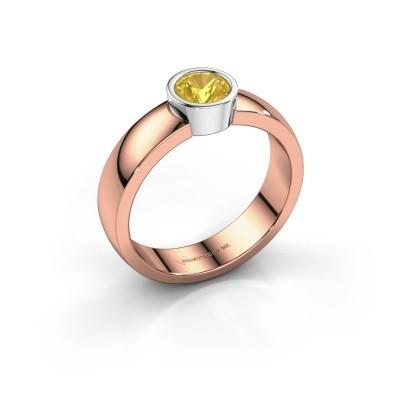 Foto van Ring Ise 1 585 rosé goud gele saffier 4.7 mm