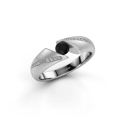 Foto van Ring Hojalien 2 950 platina zwarte diamant 0.42 crt