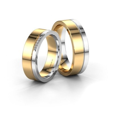 Foto van Trouwringen set WH03336L16A ±6x1.7 mm 14 karaat goud diamant 0.005 crt