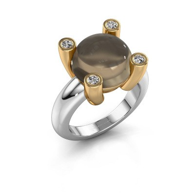 Ring Janice RND 585 witgoud rookkwarts 12 mm