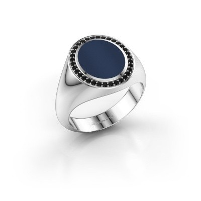 Foto van Zegelring Adam 2 585 witgoud donker blauw lagensteen 12x10 mm