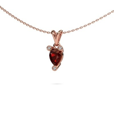 Picture of Necklace Cornelia Pear 375 rose gold garnet 7x5 mm