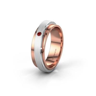 Bague de mariage WH2220L16D 585 or rose grenat ±6x2.2 mm