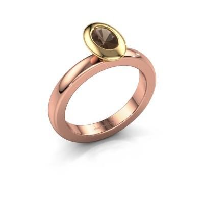 Stacking ring Trudy Oval 585 rose gold smokey quartz 6x4 mm