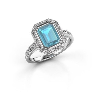 Verlovingsring Noud 2 EME 925 zilver blauw topaas 8x6 mm
