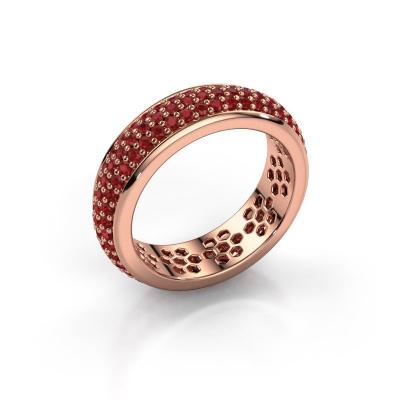 Ring Tara 585 rosé goud robijn 1.3 mm