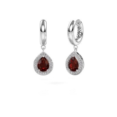 Picture of Drop earrings Barbar 1 585 white gold garnet 8x6 mm