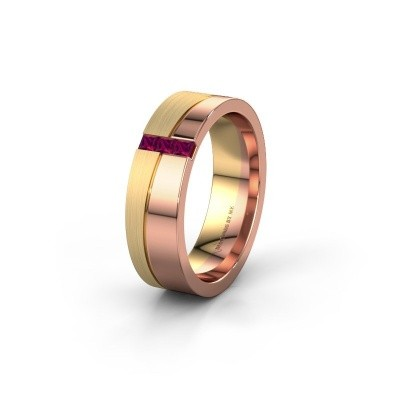 Wedding ring WH0906L16A 585 rose gold rhodolite ±6x1.7 mm