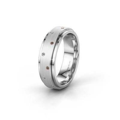 Trouwring WH2134L 585 witgoud bruine diamant ±6x2.2 mm