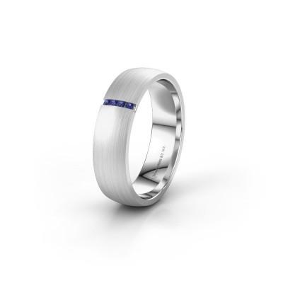 Trouwring WH0154L25XM 925 zilver saffier ±5x1.4 mm