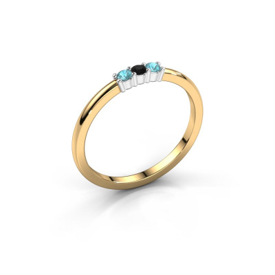 Verlovings ring Yasmin 3 585 goud zwarte diamant 0.036 crt