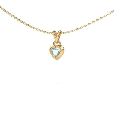Photo de Pendentif Charlotte Heart 585 or jaune aigue-marine 4 mm