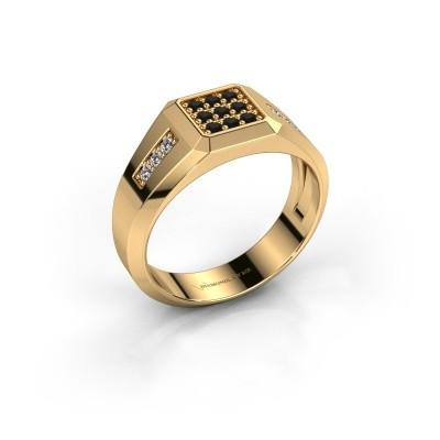 Foto van Pinkring Bas 585 goud zwarte diamant 0.336 crt