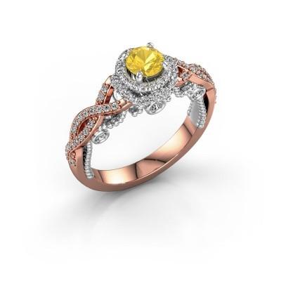 Foto van Verlovingsring Leora 585 rosé goud gele saffier 4.7 mm