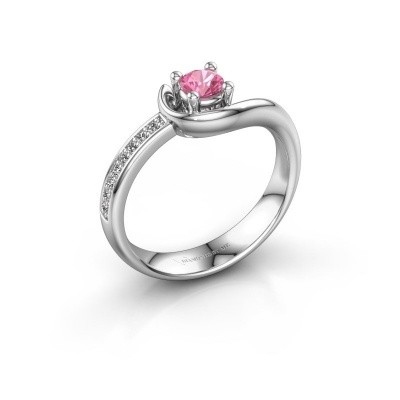 Foto van Ring Ceylin 950 platina roze saffier 4 mm