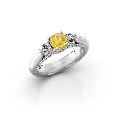 Verlovingsring Tiffani 925 zilver gele saffier 5 mm