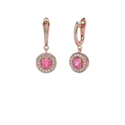 Oorhangers Ninette 2 585 rosé goud roze saffier 5 mm