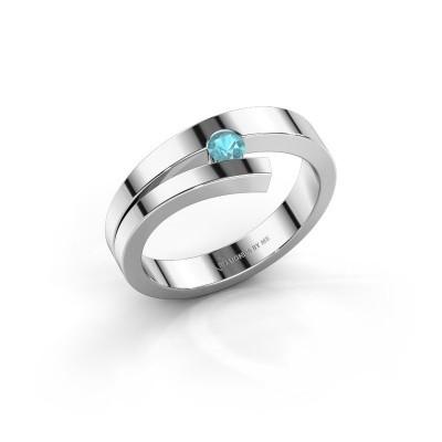 Foto van Ring Rosario 925 zilver blauw topaas 3 mm