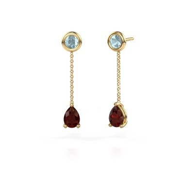Picture of Drop earrings Laurie 3 375 gold garnet 7x5 mm
