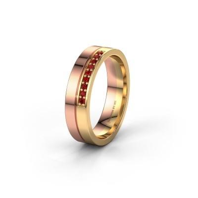 Trouwring WH0213L15AP 585 rosé goud robijn ±5x1.7 mm
