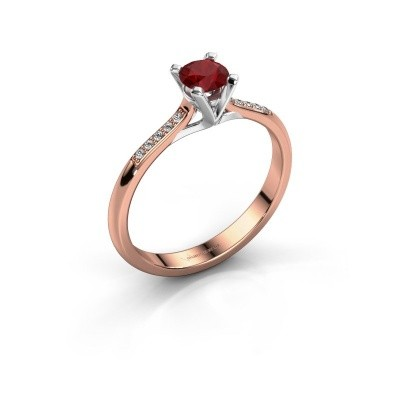 Picture of Engagement ring Isa 2 375 rose gold ruby 4.2 mm
