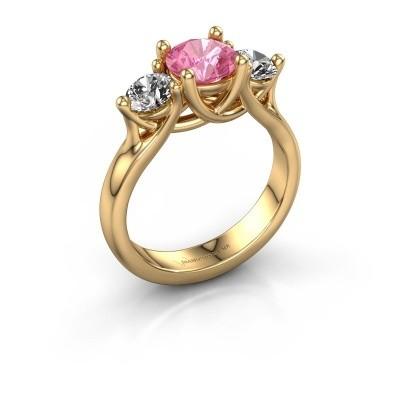 Verlovingsring Esila 375 goud roze saffier 6.5 mm