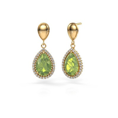 Picture of Drop earrings Tilly per 1 585 gold peridot 12x8 mm