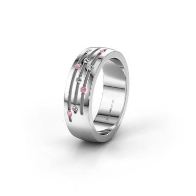 Trouwring WH0134L26B 925 zilver roze saffier ±6x2 mm