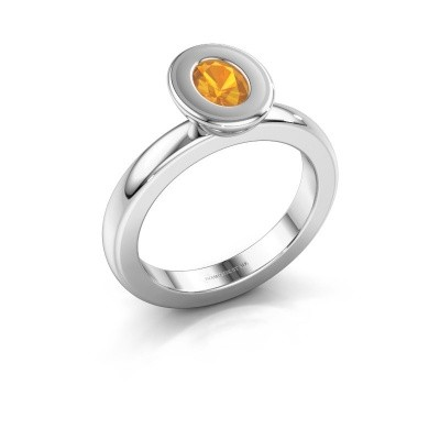 Stapelring Eloise Oval 950 platina citrien 6x4 mm