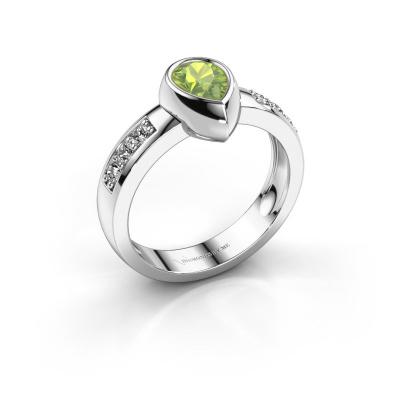 Ring Charlotte Pear 585 white gold peridot 8x5 mm