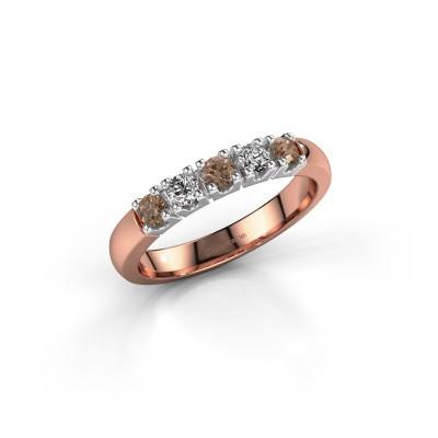 Foto van Ring Rianne 5 585 rosé goud bruine diamant 0.40 crt