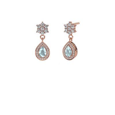 Drop earrings Era 585 rose gold aquamarine 6x4 mm