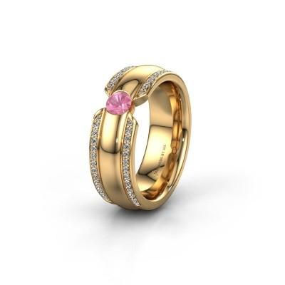 Trouwring WHR0575L 375 goud roze saffier ±7x2 mm