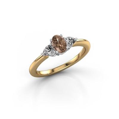 Foto van Verlovingsring Chanou OVL 585 goud bruine diamant 0.920 crt