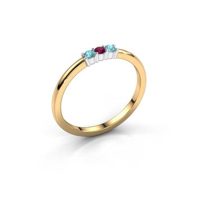 Engagement ring Yasmin 3 585 gold rhodolite 2 mm