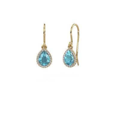Oorhangers Seline per 585 goud blauw topaas 7x5 mm