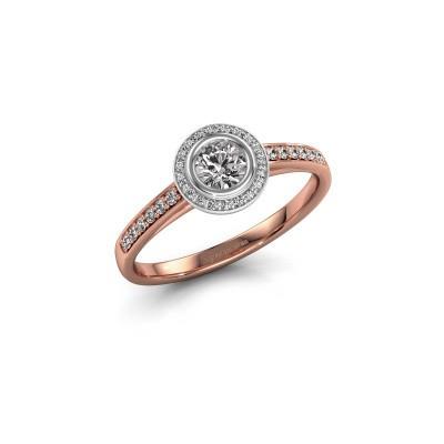 Verlovingsring Noud 2 RND 585 rosé goud diamant 0.440 crt