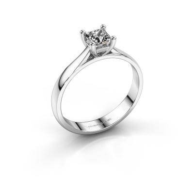 Bague de fiançailles Sam Square 585 or blanc diamant 0.40 crt