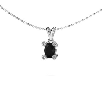 Foto van Ketting Cornelia Oval 950 platina zwarte diamant 0.98 crt