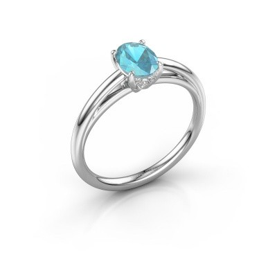 Verlovingsring Haley OVL 1 925 zilver blauw topaas 7x5 mm