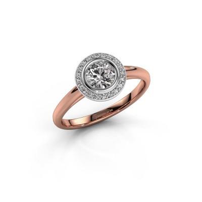 Promise ring Noud 1 RND 585 rosé goud diamant 0.60 crt